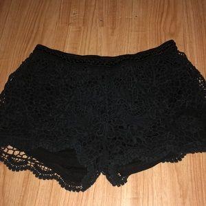 Black lace crochet high waisted shorts
